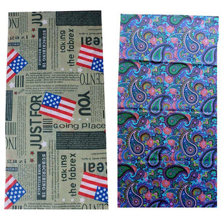 Voici France Unisex Full face and Head Wrap Smuff Bandana Headwrap Multi-Color Pack of 2