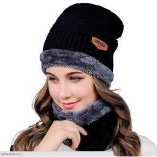 Fashlook Black Woolen Cap With Scarf For Women (Balaclava)