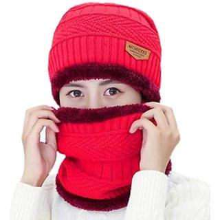 Fashlook Red Woolen Cap With Muffler For Women (Balaclava)