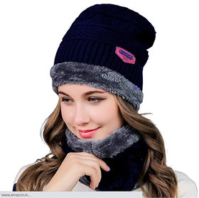 Fashlook Navy Blue Woolen Cap With Scarf For Women (Balaclava)