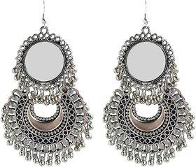 ibbie Fancy Oxidized Silver Afghani Tribal Mirror Earrings for Girls and Women