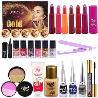 Adbeni Karwa Chauth Makeup Combo With Gold Facial Kit  Hair Straightener, Pack of 23, (GC1427)