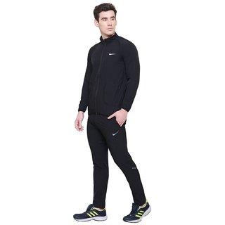 Nike Lycra Sportswear Men Black Solid Tracksuit