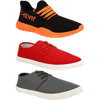 Chevit Trendy Fashion Combo Pack of 3 Pairs Loafers/Sneakers Outdoor Casual Shoes for Men