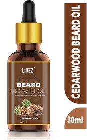 Ligez 100% Natural Beard Growth Oil - (Cedarwood) Hair Oil (30 ml)