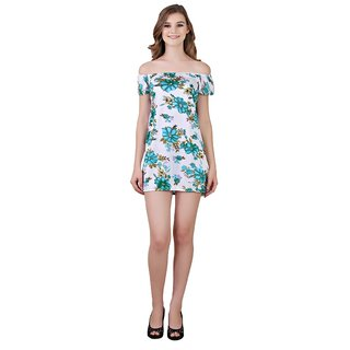 Quinize Self Design Exotic Flower Print Nighty for Ladies White Color FREE SIZE (Offer - Get FREE 1 Face Mask)