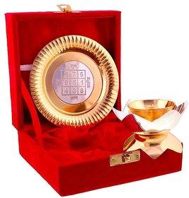 Tanhar Krafts Gold Silver Akhand Jyot Diya Plate Handicraft