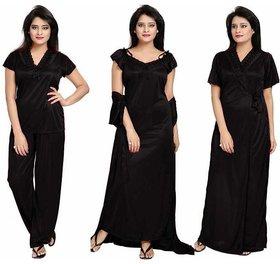Diljeet Women's 4Pc Satin Nightwear Set - Black (Nighty/Robe/Top/Bottom)