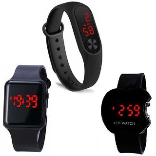 M2 With Cutapple With I Square Black Digital Led Combo Pack of 3 Watch