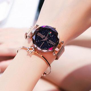 Katrodiya Rose Gold Strap Round Dial Watch For Women