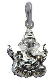 Sterlling Silver Ganesh Pendant Beautiful Ganpati Silver Pendant(Locket) By KUNDLI GEMS