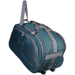 SMS BAG HOUSE  Expandable  Unisex Lightweight 55 litres Travel Duffel Bag with Two Wheels  Green