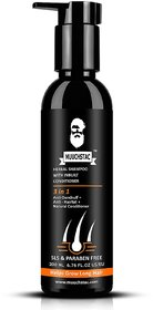 Muuchstac Herbal Shampoo with Inbuilt Conditioner, Anti dandruff  Anti Hairfall, Helps Grow long Hairs, 200 ml