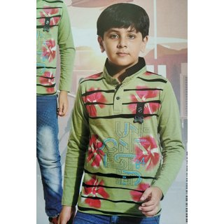 Full Sleeve Stylest Coller Printed T-shirts for Kids Boy (Green)