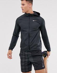 Nike Black Polyester Lycra Jacket For Men