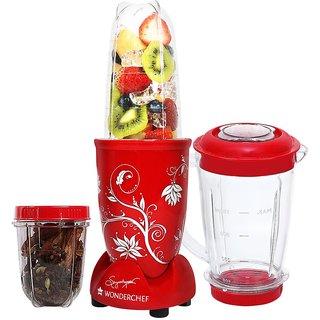 Wonderchef Nutri-Blend Mixer Grinder, 400W, 3 Jars (Red)