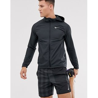 Nike Black Polyester Lycra Jacket For Men