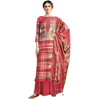 Varun Cloth House Womens Woollen Printed Suit With Shawl Salwar Suit Material (vch9261, Red, Free Size)
