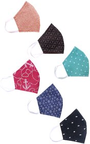 Inspire Cotton Reusable Reversible Washable Anti Pollution 3 Layer Face Mask ( Pack Of 6 Mask )