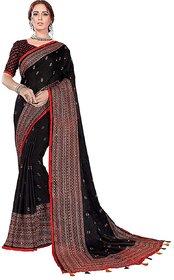 jute silk printed less border saree with blouse