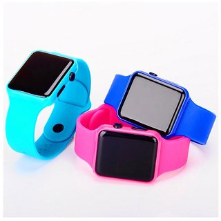 I Square Skyblue,Blue,Pink Combo Pack of 3 Apl Square Digital LED Combo Watch