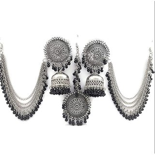 Fashlook Black Kaan Chain Jhumki With Maang Tikka Set