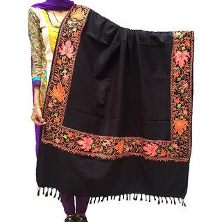 Varun Cloth House Womens Fully Kashmiri Embroidery Loom Woven Woolen Shawl