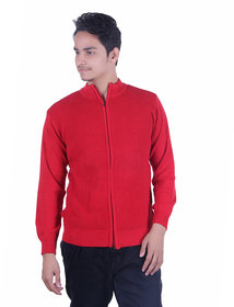 Ogarti cotton Full Zip Red Colour Sweater