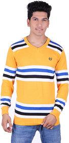 Ogarti cotton Stripper V Neck Gold  Colour Sweater