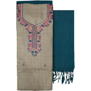 Varun Cloth House Womens Woollen Kashmiri Embroidery Salwar Suit Material (vch9272, Blue, Free Size)