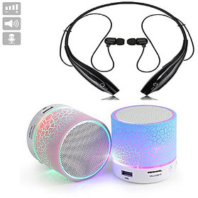 Bluetooth Headphone HBS-730 Neckband with Mini Bluetooth Speaker LED (Combo of Two Pack) Multi-Color