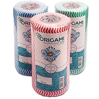 Origami NonWoven Reusable and Washable Kitchen Wipes - 3 Rolls - 80 Wipes per roll - Total 240 Wipes
