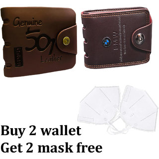 Fashlook Brown Wallet Combo with Mask