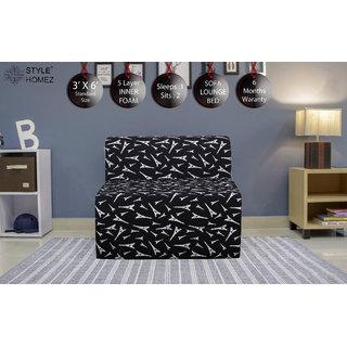 Style Homez DappeR Foldable Sofa Cum Bed, 3' x 6' Feet Premium Cotton Canvas Fabric Black White Abstract Design