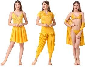 Romaisa Women's Satin Nightwear Set of 6 Pieces (Babydoll, Short Wrap Gown, Patiyala Nightsuit with Bra & Thong)