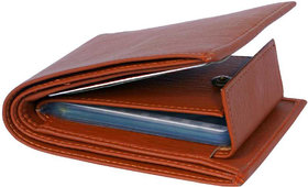 Sunshopping Men's Tan Color Synthetic Leather Wallet (Tan)