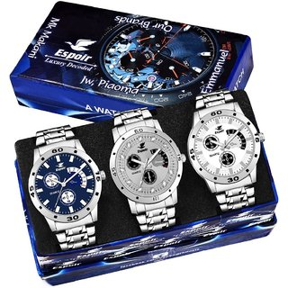 Espoir Analog Chronograph Not Working Pack of 3 Watches Stainless Steel for Men's Watch - Combo ES109,109Grey,Espoir