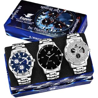 Espoir Analog Chronograph Not Working Pack of 3 Watches Stainless Steel for Men's Watch - Combo 109Grey,Bahu,Espoir