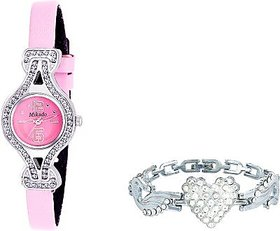 Mikado Pink dail Casual Analog Watch and Bracelet Combo for Girls