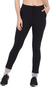Haoser Women track pants cotton, Black Slim fit Solid Lower for women's