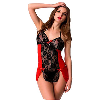 Babydoll Hot and Sexy Red Exotic Mini Nighty Dress for Girlfriend FREE SIZE (Offer - Get FREE Mask)