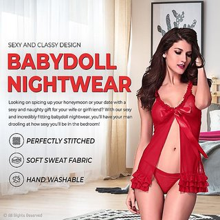 Quinize Exotic Naughty Nightwear for Women Red Color FREE SIZE (Be Naughty in your Bed)