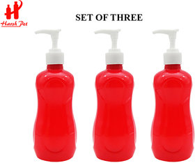 Harsh Pet 400ml Red Fun Empty Refillable Plastic Liquid Soap/handwash/Sanitizer/Lotion/Shampoo Dispenser Bottle Set of 3