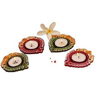 Womaniyaa Decorative Clay Diyas Colourful Hand Painted Puja Pooja Diya for Diwali Festival Decoration  Home Decoration