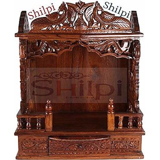 Shilpi Handicrafts Sheesham Wood Traditional Hand Carving Carving Temple (30 x 18 x 40)