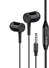 Lazywindow Set of 5 Black Wired Earphones With Mic 3.5mm Jack Compatible With All