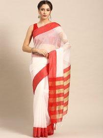 Rumon White Red Self-Striped Woven Design Kota Saree