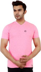 Shellocks Cotton Hosiery V Neck Half Sleeve Pink Melange T-Shrit for Men