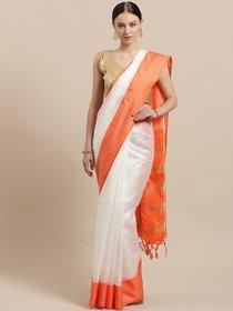 Rumon White  Orange Self-Striped Saree