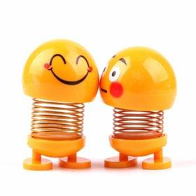 Lazywindow Smiley Spring Doll, Cute Emoji Bobble Head Funny Car Dashboard Toys (Set of 2)